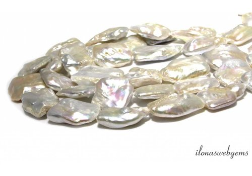 Square Pearls / Freshwater pearls approx. 30x28mm