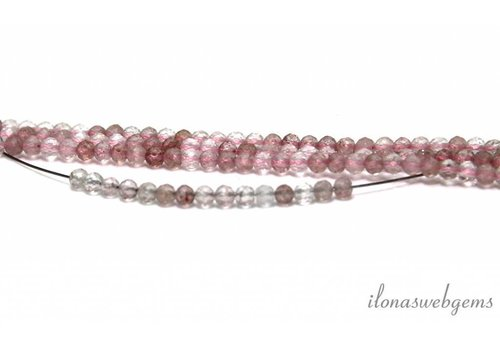 1 cm Aardbeien kwarts / strawberry quartz facet rond ca. 3mm AA kwaliteit