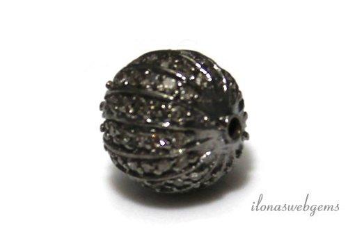 Sterling Silber Perle mit Diamanten ca. 10mm