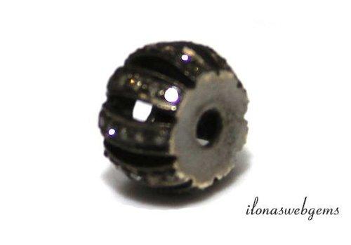 Sterling Silber Perle mit Diamanten etwa 10 x6.5mm