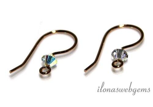 1 pair of Rosé vermeil ear hooks with Swarovski ca21mm
