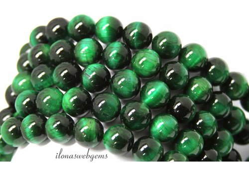 Green Tiger eye beads around 12mm A quality