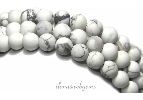 Howlite beads white mat around approx. 14mm