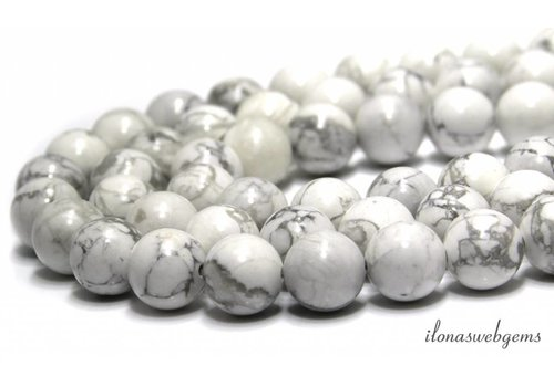 Howlite beads white (gloss) around 14mm