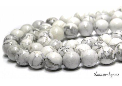 Howlith Perlen weiß (glänzend) um ca. 14mm