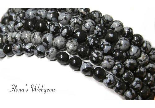 Snowflake Obsidiaan kralen rond ca. 8mm