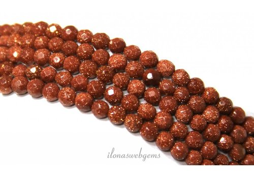 Goldstone beads gold large facet about 6mm