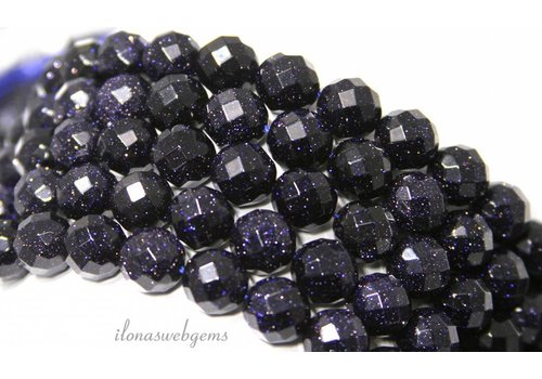 Goldstone-Perlen große blaue Facette ca. 10mm