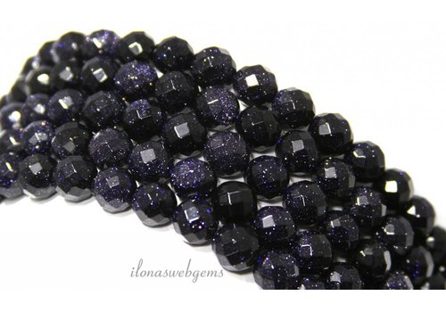 Blue Goldstone beads large facet about 6mm