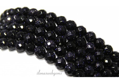 Goldstone beads blue large facet about 4mm