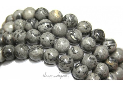 Jasper beads round gray about 14mm