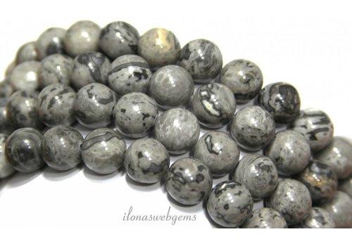 Grey crazy Agaat kralen rond grijs ca. 12mm