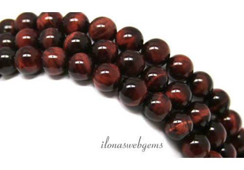 Tiger eye beads red around approx. 14mm A quality