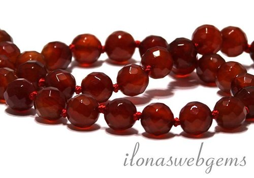 Carnelian - Red Agate beads faceted app. 8mm