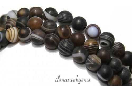 Brown stripe agate beads round mat approx. 8mm