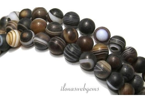 Brown stripe agate beads mat approx. 10mm