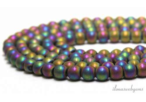 Hematite beads pink peacock ca.10mm