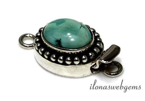 Sterling silver box lock with turquoise - Copy - Copy