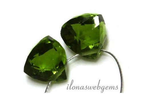 1 pair Peridot quartz drop facet about 8x8mm