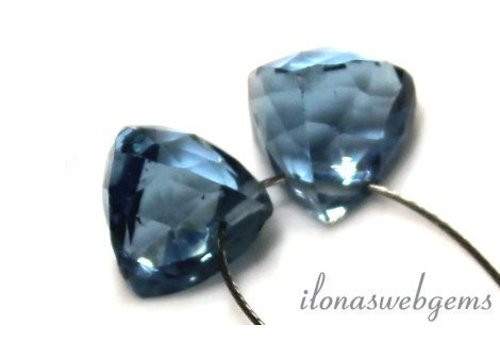 1 pair of London Blue Quartz faceted drop approx. 8.5x8mm