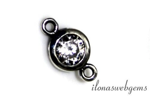 Sterling silver connector with cubic zirconia, approx. 6 mm