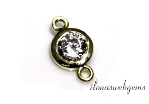 Gold filled connector met cubic zirconia ca. 6mm