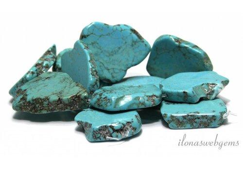 Howliet kralen turquoise  plakken ca. 35x23x6mm