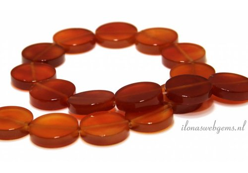 Carnelian - Carnelian beads coin about 25x5mm