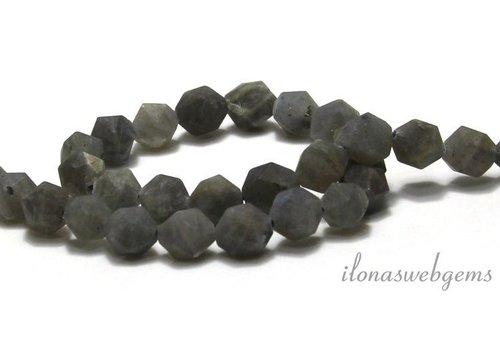 Labradorite beads diamond cut mat around 10x9mm