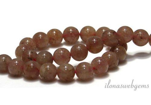 Erdbeerquarz Perlen um 8,5 mm