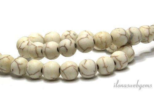 Howlite beads round mat approx. 8mm