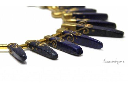 Lapislazuli Perlen von ca. 24x7x6mm bis 50x12x10mm