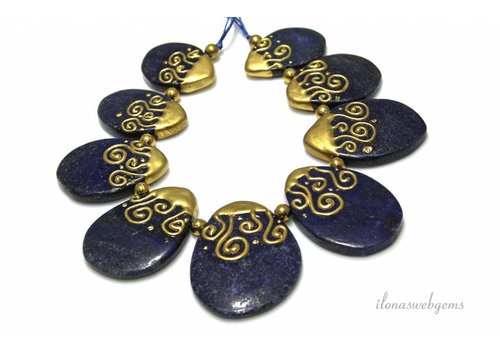 Lapis Lazuli beads from approx. 35x23x6mm to 50x32x6mm