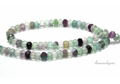 Fluorite beads facet roundel around 6x4mm