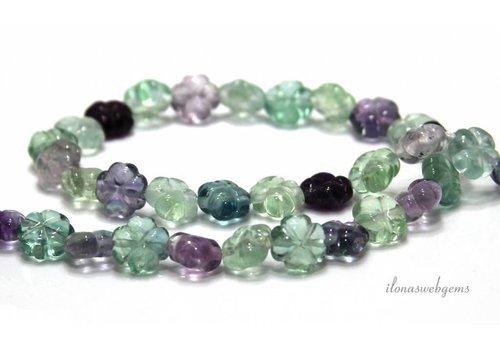 Fluorite beads flower approx. 10x5mm