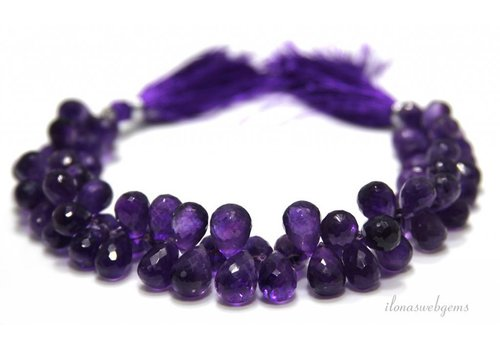 Amethyst faceted briolettes around 11x8mm