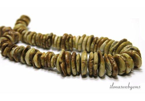 Howlith Perlen aufsteigend und absteigend von ca. 12x4 bis 20x5mm