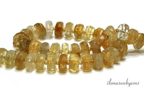 Citrine beads facet A quality approx. 13x6mm