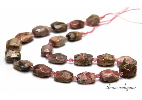 Rhodonite faceted beads 17x13x9mm
