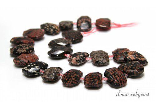 Rode Alabaster Obsidiaan facet kralen ca. 19x14x7mm