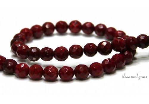 Howlite beads red facet around 8mm