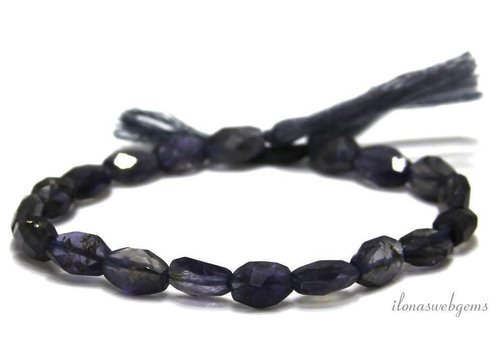 iolite beads facet oval approx. 9x6mm