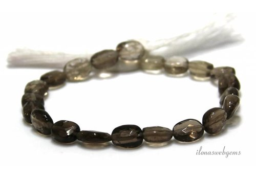 Smoky quartz beads facet oval approx. 9x6.5mm
