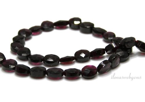 Garnet beads faceted coin oval around 10x8x6mm
