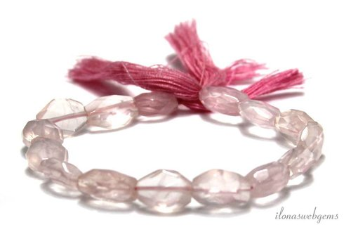 Rose quartz beads faceted oval 10x7.5mm