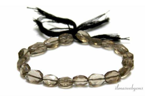 Rauchquarz Perlen facettiert oval etwa 8,5 x 7,5 mm