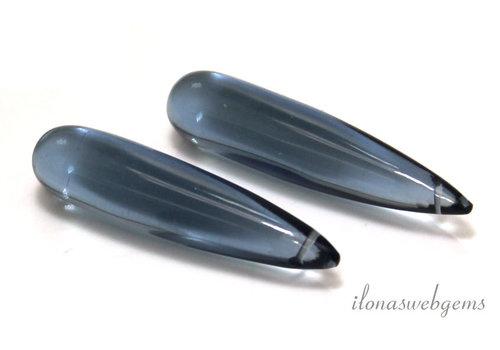 Light London blue Hydro Quartz Drops around 35x8mm