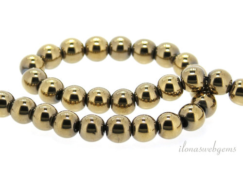 Pyrite beads around ca. 8.5mm Gold plated