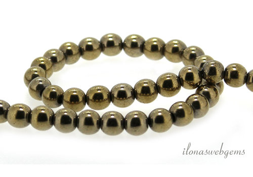 Pyrite beads around 6mm Gold plated