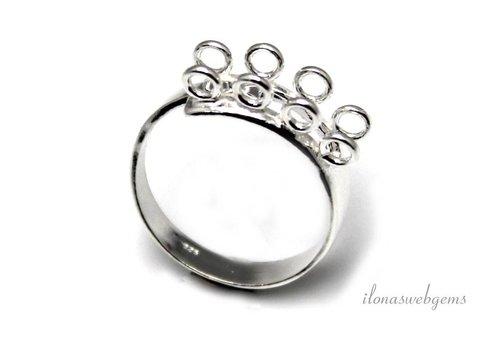Sterling zilveren ring met 8 oogjes ca. 25x6.5mm